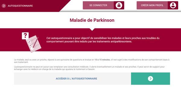 autoquestionnaire médicaments France Parkinson