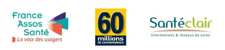 logos France Assos Santé Santéclair 60millions