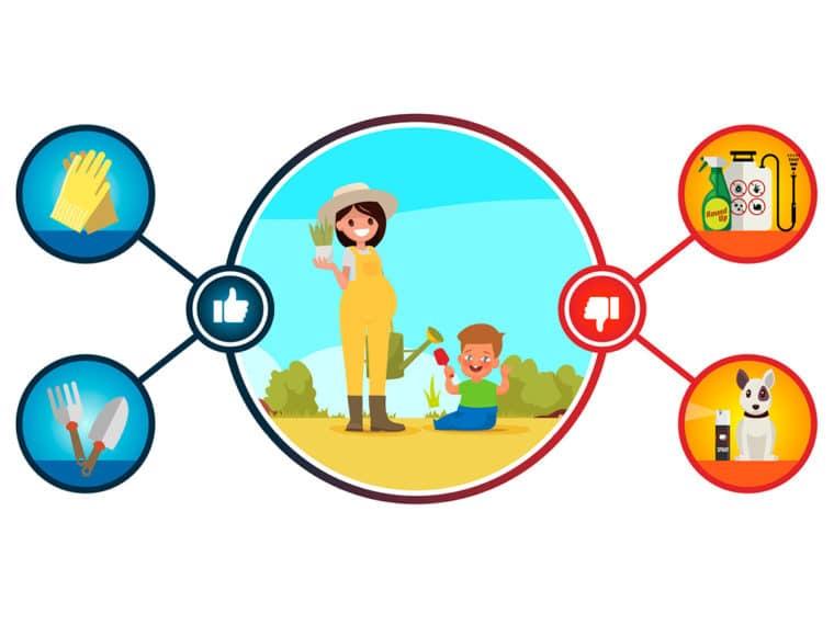 Jardinage enceinte et avec des petites enfants
